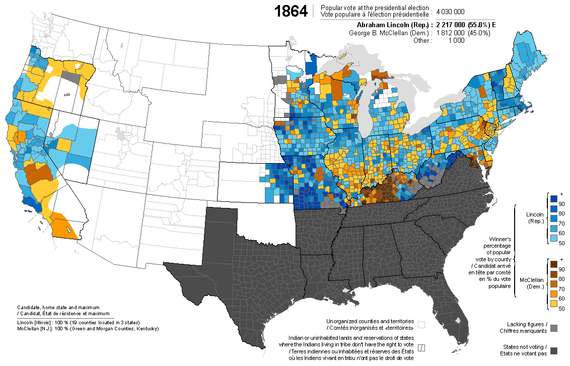 Presidential election of 1864 - Map by counties