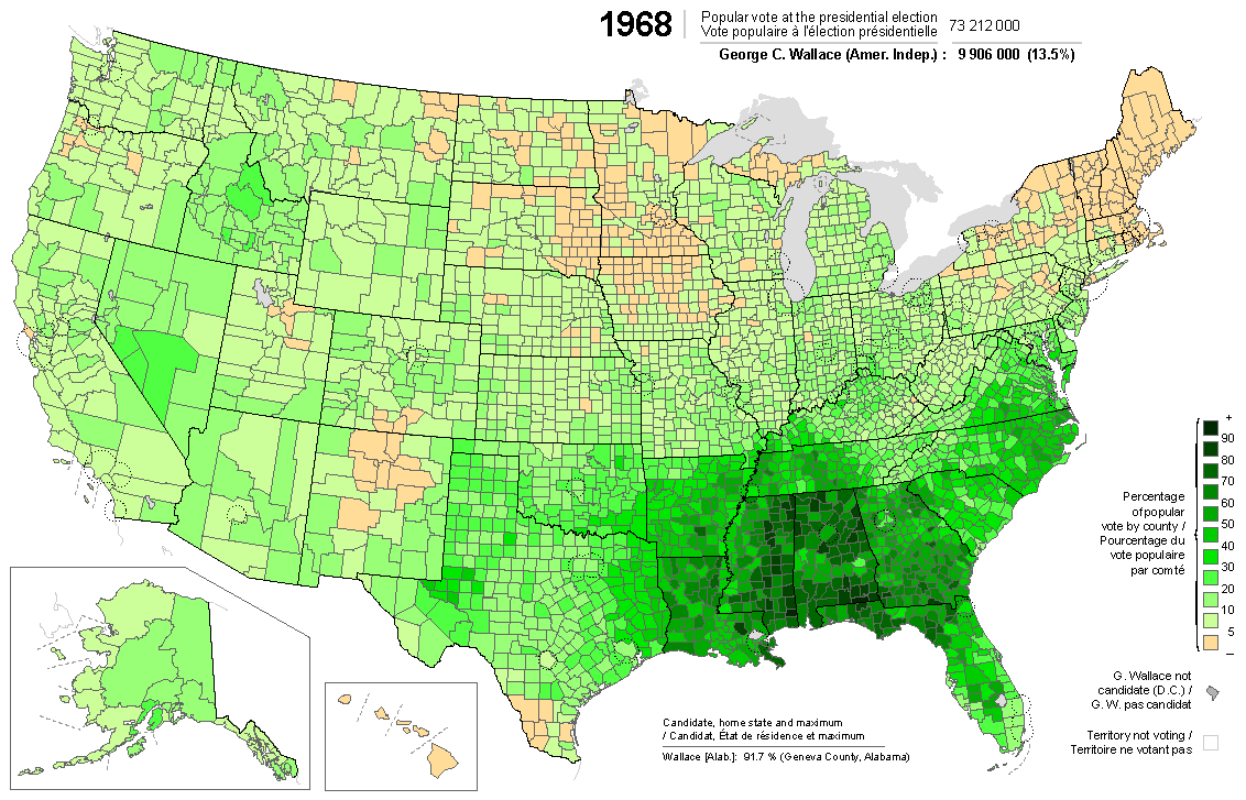 Picture of: Presidential Election Of 1968 Wallace Map By Counties