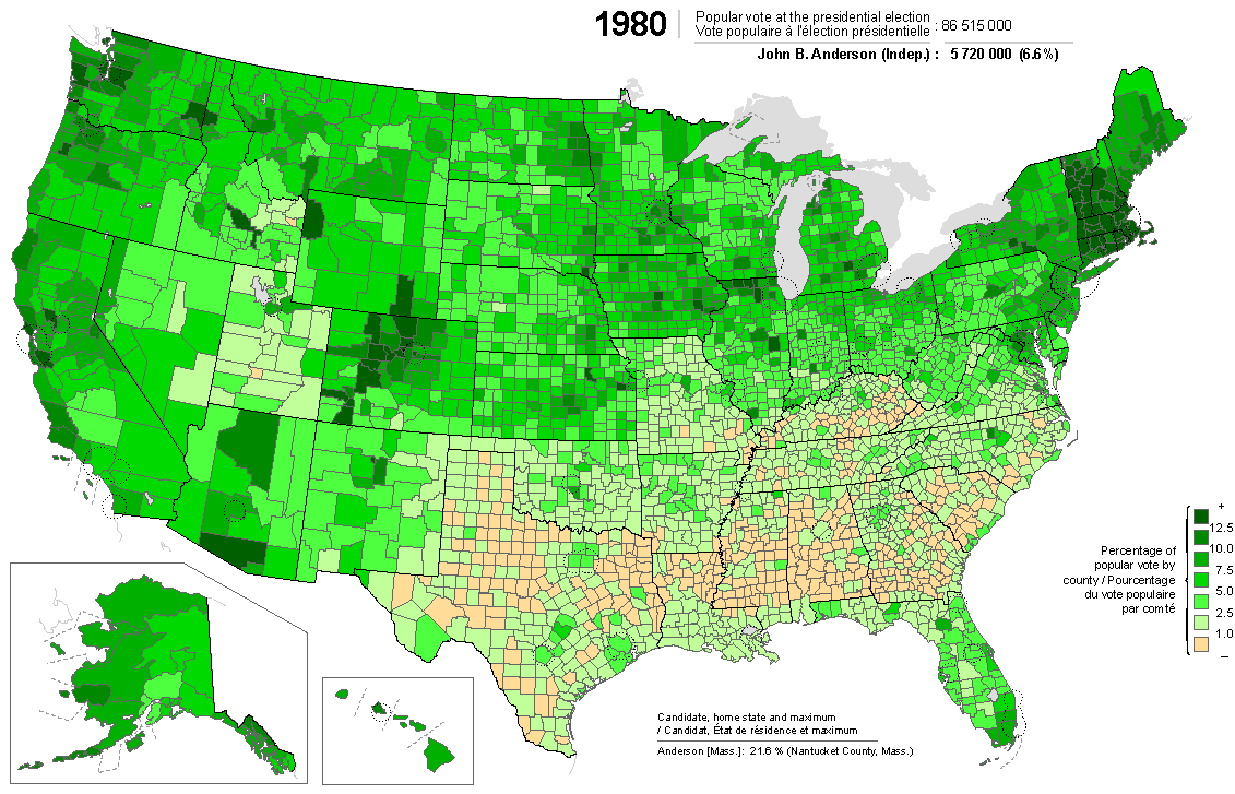 Presidential election of 1980: Anderson map by counties