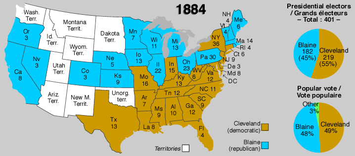 Presidential Election Of - Us map 1884